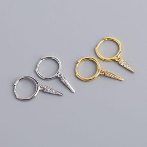 Februaryfrost Марка Дизайнер Корейский украшения Простой Геометрический серьги 100% стерлингового серебра 925 Triangle Подвеска серьги для женщин