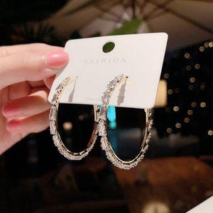 925 Silver Cool All-Matching Internet Hot Earrings Europe Fashion Exaggerated Zircon C- Shaped Hoop Earrings Women