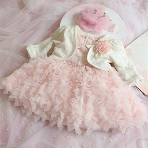 2 PCS SET Newborn Baby Girl Vestidos Pink Lace Princess Bebé Niño Braizismo Vestido 1 año Vestido de cumpleaños para el bautismo 0-2 años Z1214