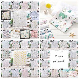 Baby Swaddle Bath Towels Muslin Newborn Blanket Cotton Bath Towels Air Condition Towel Cartoon Swaddling Stroller Cover YYA488 SEA SHIPPING