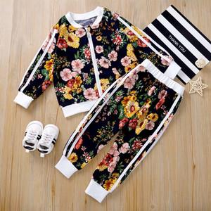 Emmababy малыш девочка одежда осень цветок напечатана эластичная талия круглые шеи с длинным рукавом верхние полосатые брюки 2 шт. Outfitsx1019