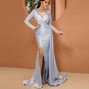 Light Blue Evening Dresses Long Sleeves High Split Mermaid Prom Dress Custom Made Formal Gowns Vestidos