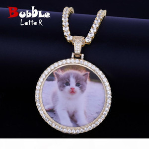 Custom Made Photo Medallions Necklace & Pendant With 4mm Tennis Chain Gold Silver Color Cubic Zircon Men's Hip Hop Jewelry T190626