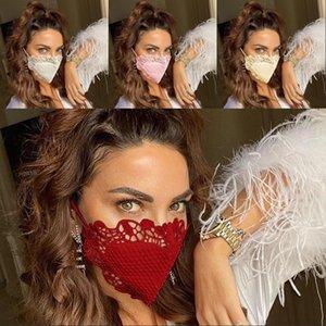 Кружева ткань черный белый масечер дышащий Maticolor мода леди лицо лица маски анти пыль любовь сердца моющаяся маскарилла 6 9ol G2