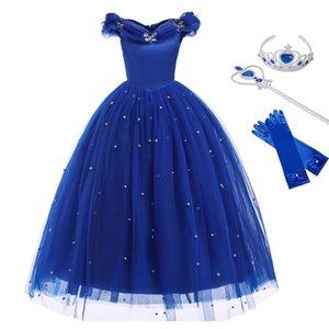 Золушка Принцесса Девушки платье Fairy Tales Deluxe Cosplay Костюм Без Рукавов Голубое платье Детская вечеринка Хэллоуин Одежда на день рождения T200624