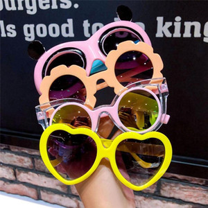 Fashion Retro Kids Sunglasses Kawaii Round Heart Shape Frame Protection UV Sunglasses Girls Boys Toy Glasses Accessories
