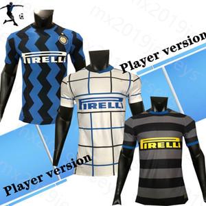 Oyuncu Sürümü 2021 Inter Futbol Forması # 9 Lukaku # 24 Eriksen 2021 Erkekler Ev Futbol Gömlek # 10 Lautaro # 37 Skriniar Futbol Üniformaları
