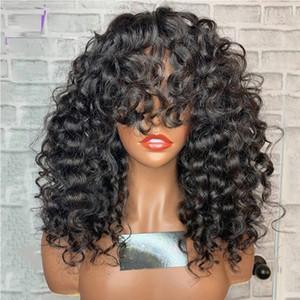 Afro Kıvırcık Kadınlar için Bangs Öncesi Mızraplı Satine Malezya İnsan Saç Kısa Kinky Kıvırcık Dantel Peruk ile 5 * 5 İpek Üst Dantel Açık Peruk