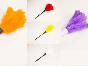 Multi Colour Feather Dusters Dust Removal Homes Hang Duster Plastic Handle Cleanings Tool Book Case Red 1 8xq L2