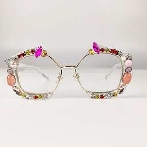2020 Luxury Diamond Square Sunglasses Women Brand Designer Trendy Clear Sun Glasses Crystal Shades Pearl Eyewear