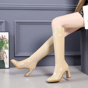 Knie hohe Stiefel High Heels Frauen Schuhe Lackleder Stiefel Winter Oberschenkel Knie Heels Black Beige Botas Altas Mujer