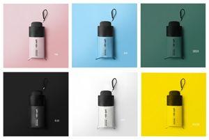 Mevcut beş Katlama Cep Güneşlik Ultra Hafif Güneş Şemsiye Katı Renk Basit Stil Şık Şemsiye 6 Renkler
