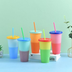 700ml Farbwechsel Cups Reusable Plastic Umweltfreundliche Wasser Cups Deckel Straw Plastikbecher Getränk Tassen Durable Tumbler Verfärbungs VT1735