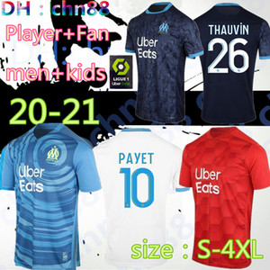 S-4XL Mainoot Om Olympique de Marseille Socker Jersey 2020 2021 Marseille Maillot de Foot Benedetto Payet L Gustavo 20 21 Рубашки Таувина