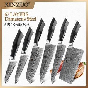 Xinzuo 6PCS Кухонные шеф-повар Ножи набор VG10 Core Натуральный Дамаск Вены стальные Высокого углерода Лучшие острые резки мясо Приготовление ножей