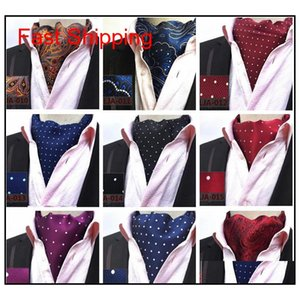 Mens Cravat Lazos Vintage Polka Dot Floral Boda Formal Cravat Ascot Scrunch Self British Style Gentleman Polyest Qylgue Bdehome