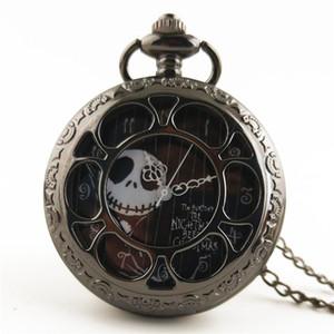 Silver Black Bronze Christmas Pocket Watch Jack Skellington Tim Burton Movie Kids Pendant Necklace Clock Children's Gift Watch Skull Pattern