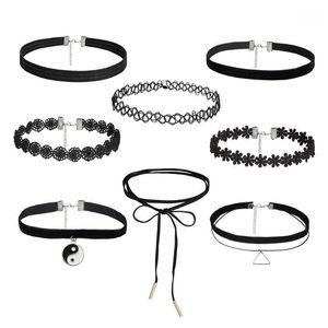 2020 Fashion 8 PCS / Set Lace Long Chain Tattoo Choker Necklace Collier Boheme 여성 가죽 목걸이 Bijouterie Jewelry1