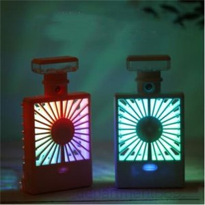 A-Perfume Bottle Spray Charging Cooling Fan Night Light USB Humidifier Fans Summer Office Portable Travel Accessory DHA307