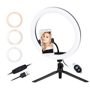 Flash Heads 30 см / 12 дюймов LED кольцо Light 5600-8200k Diammable 3 Цвета с штативной телефонной стойкой Держатель Удаленный затвор для видео Live Streaming1