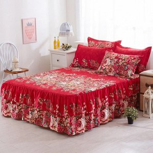 bed skirts queen size 150x200cm Floral Fitted Sheet Cover Graceful Bedspread Lace Fitted Sheet Bedroom Bed Cover Skirt Wedding rcI2#