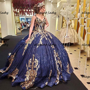 Royal Navy bleu pailleté d'or Quinceanera Appliques bouffi corset lacé jupe haut bonbon 15 robe Vestidos de xv 15 años
