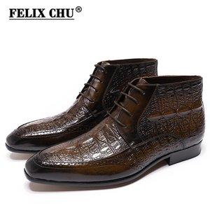 Felix Chu Hakiki Deri Erkek Ayak Bileği Çizmeler Timsah Baskı Lace Up Yüksek Üst Elbise Ayakkabı Siyah Kahverengi Rahat Erkekler Motosiklet Boots 201202