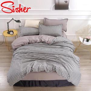 Breve cama xadrez cama king size conjunto de cama Mordern desenhos animados edredom capa conjuntos Única colcha de rainha dupla cobre kidsclothes1