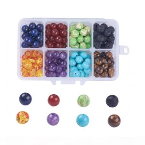 8mm Chakra Beads Volcanic Stone Lave Stone Turquoise Agate Amethyst Energy Natural Stone for Bracelets Necklace Jewelry Making