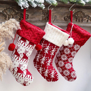 Cute Christmas Stockins Socks Knitted Xmas Candy Bags for Kids Gifts Bags Lovely Gift Bag Hanging Fireplace Tree Decoration