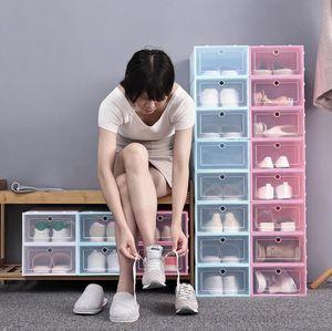A-Thicken Clear Plastic Dustproof Storage Flip Transparent Shoe Boxes Candy Color Stackable Shoes Organizer Box OWC2653