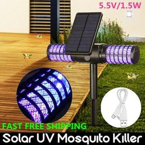 Solar Mosquito Killer Lamp Waterproof Villa Yard Garden LED Light Lawn Camping Lamp Large Bug Zapper Light Pest Control CCA11700 10pcs