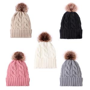 Twist Knit Winter Warm Fleece Beanie with Pom Pom Knitting Tuques Women MENS Skull Caps Fashion Outdoor Big bALL Crochet Hats Cap LY10131