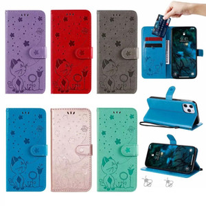 Imprint Flower Leather Wallet Case For Iphone 12 2020 11 Pro Max XR XS X 8 7 6 6S SE 5 5S Cat Cartoon Bee Butterfly Holder Flip Cover Pouch