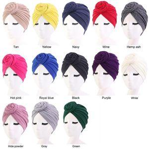 New women Muslim Knot Turban Hats Knot Beanie Hair Loss Head Cover Caps Bonnet Wrap Cap Indian Voile Soft Headwear Solid Color