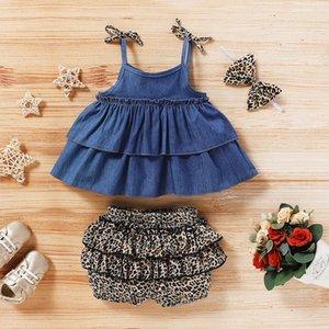 Emmababy Fashion Baby Girl Vêtements Vêtements sans manches Tops + Léopard Plissé Shorts 2PCs Tenue Vêtements Vêtements Été 201017