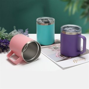 12oz 350ml Tea Mug Coffee Tumbler Water Cup 18 8 Stainless Steel Double Wall Insulated Vacuum Thermal Glass Straight With Slide Lid