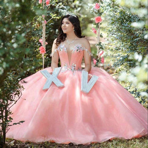 Pink Quinceanera Dresses 2021 Deep V Neck Sweet 15 16 Dresses Backless Puffy Skirt Birthday Party Sweep Train Lovely