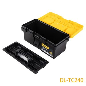 Tool Organizers Deli 14-Inch Reinforced Toolbox Plastic Box Storage Daily Parts Organizer Two-Tier Structure