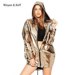 Weyes Kelf Wasserdichte Metall Lose Kapuzenpullover Frauen 2018 Herbst Mode Reißverschluss Womens Mantel Lange Parka Mujer1