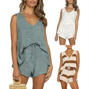 Women Solid Color Sleeveless Vest Top Drawstring Shorts Loose Knitted Outfits Knitted Drawstring Comfortable to Wear women set