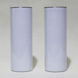 SUBLIMATION DE 20OZ SUBLIMATION Gobers Skinny Stroit blanc Blanc Slim Slim Tasse d'acier inoxydable 20 Oz isolant à double paroi assuré et paille en plastique