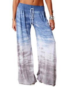 Loose-fitting color-changing printed yoga wide-leg tracksuit pants autumn winter high waist droop feeling loose show thin straight tube