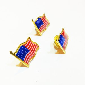 10pcs lot American Flag Lapel Pin Brooch for Hat Tie Tack Badge Pins Mini Brooches for Clothes Bags Decoration