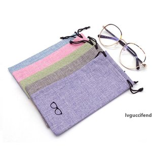 Portable Linen Fabric Sunglasses Pouch For Eyewear Smooth Surface Container Glasses Bag 6 Colors Factory wholesale LX2464