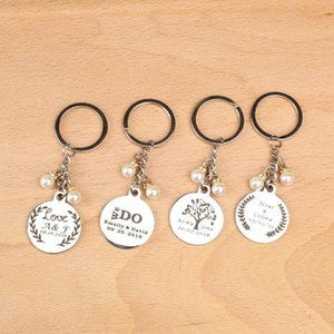 10pcs Personalized wedding name date logo keychain Bridal Shower Gifts For Guests wedding favor and gifts for guests