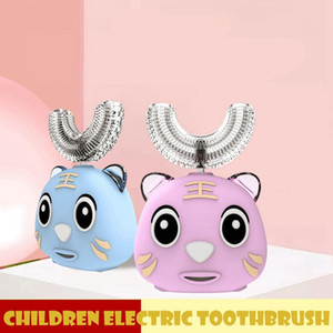 360 grados para niños Cepillo de dientes eléctrico en forma de U forma automática USB cargando niño Diente Cartón Lindo Boca Carretera Limpieza Brocha