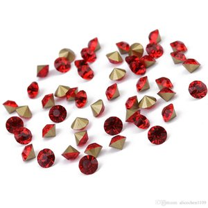 100gram  Lot (About288pcs )Rhinestone Gem Flatback Apical Circle Shape Black Red Rose -Red Color Crystal Loose Diamond Beads For Clothing De