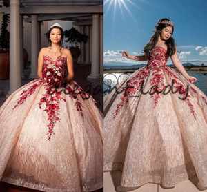 Pretty Rose Gold and Red Lace Quince Dresses 2021 Sweetheart Lace-up Corset Top Sparkly Sequins Applique Quinceanera Dresses
