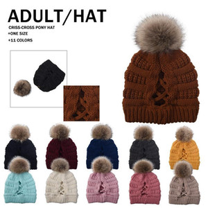 11 Colors Pom Pom Beanie Cross Ponytail Beanie Winter Warm Knitted Wool Hat Women Ski Skull Caps K1143